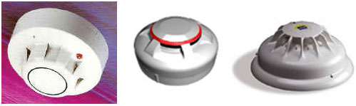 image of an optical smoke detector, an ion detector and a heat detector