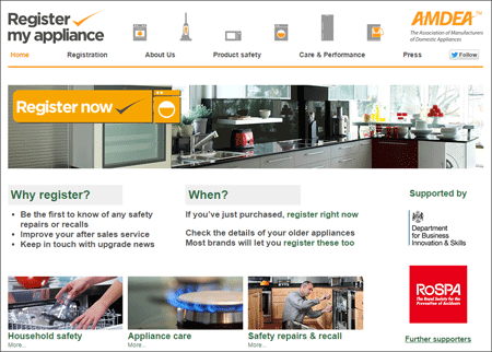 register my appliance home page