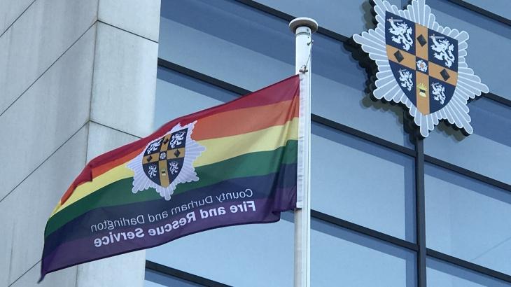 Image of CDDFRS flying LGBT flag